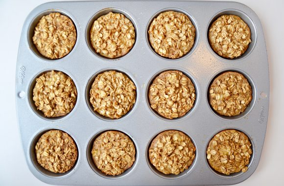 Muffin tin with freshly Baked Oatmeal Cups