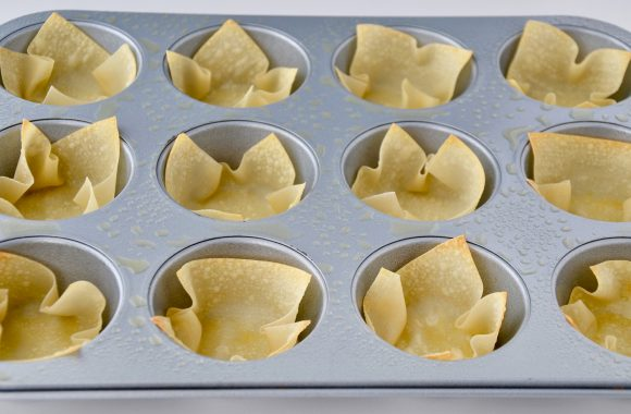Baked wonton cups in greased muffin tin.