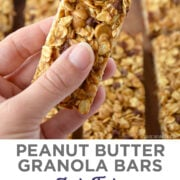Top image: A hand holding a Homemade Peanut Butter Granola Bar. Bottom image: A top-down view of rows of easy peanut butter granola bars studded with mini chocolate chips.