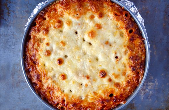Baked rigatoni pie in springform pan