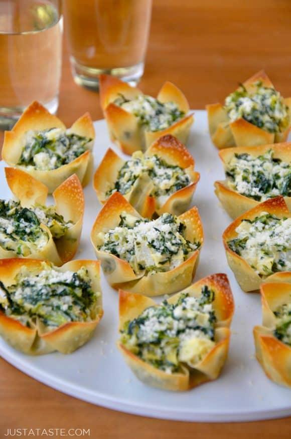 Spinach-Artichoke Dip Wonton Cups on white plate