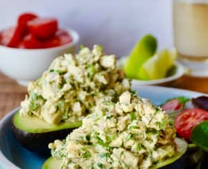 The Best Avocado Chicken Salad in hollowed-out avocados