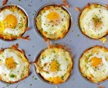 Cheesy Hash Brown Cups with Baked Eggs