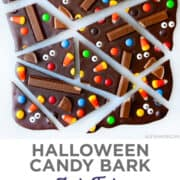 Top image: A top-down view of Halloween Candy Bark cut into imperfect triangles and rectangles. Bottom image: Halloween Candy Bark studded with candy corn, Kit Kat Bars, M&Ms, Reese's Pieces and candy eyes.
