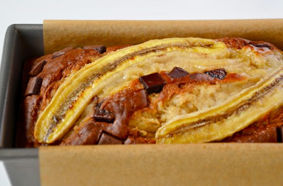 Sour Cream Chocolate Chunk Banana Bread in bread pan