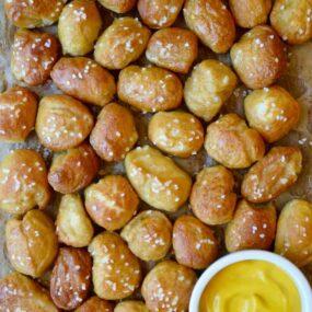 Fresh baked Easy Homemade Soft Pretzel Bites