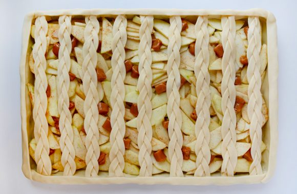 A caramel apple slab pie before it is baked