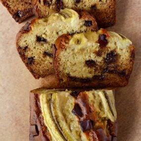 Sliced Sour Cream Chocolate Chunk Banana Bread