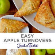 Top image: A close-up view of Easy Apple Turnovers on a white serving plate. Bottom image: Easy Apple Turnovers on a white serving plate next to a bowl with whipped cream and two green apples.