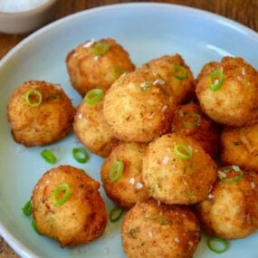 Leftover Mashed Potato Balls with leftover cranberry sauce