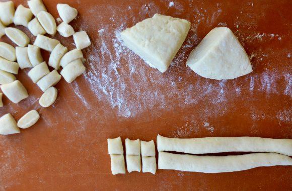 Cutting mashed potato gnocchi