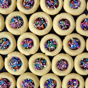 Chocolate Thumbprint Cookies with colorful sprinkles