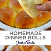 Top image: A hand holding a homemade dinner roll. Bottom image: A white baking dish containing golden-brown dinner rolls topped with large-flake sea salt.