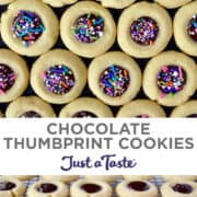 Top image: Chocolate Thumbprint Cookies with rainbow sprinkles. Bottom image: Chocolate Thumbprint Cookies on a wire cooling rack.