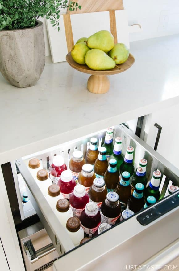 Viking refrigerator drawers filled with drinks in the Just a Taste kitchen