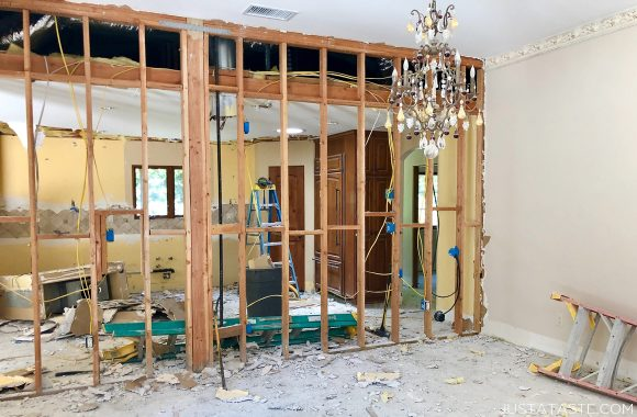 Just a Taste dining room and kitchen remodel mid-demo