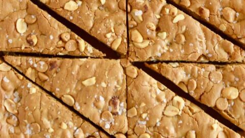 A top down view of Double Peanut Butter Blondies sliced into triangles