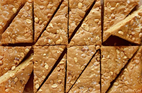 Double Peanut Butter Blondies sliced into triangles