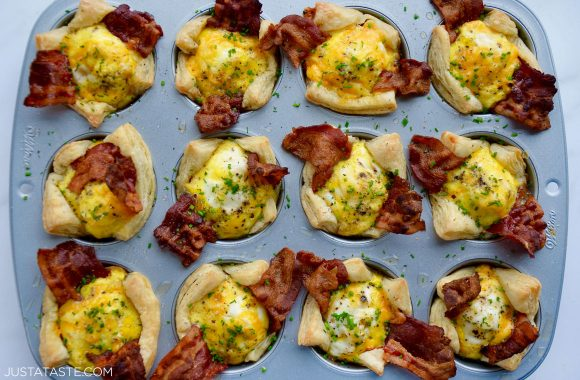 The best homemade Bacon, Egg and Cheese Toast Cups in a muffin tin