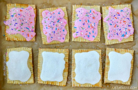 Best homemade pop tarts with white glaze and pink glaze with sprinkles