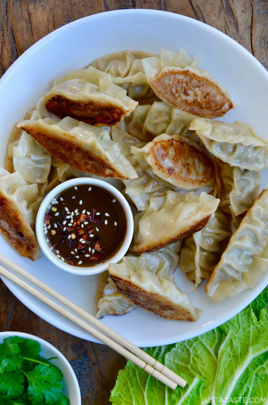 Pork Potstickers With Citrus Soy Dipping Sauce Just A Taste