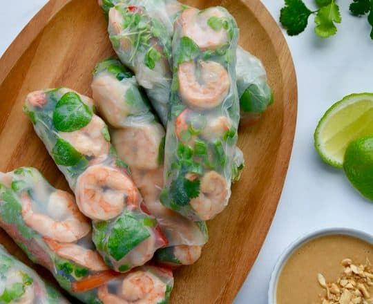 Thai Spring Rolls with Peanut Sauce