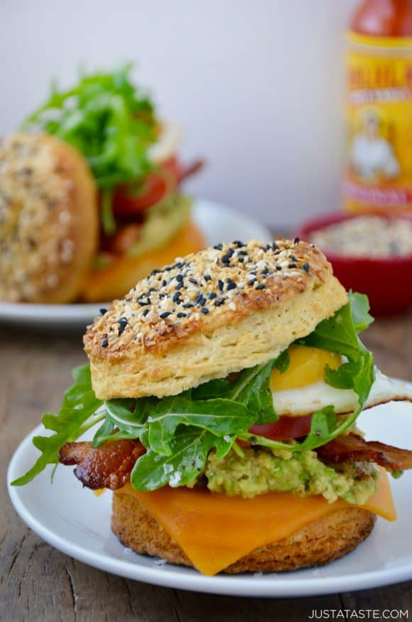 The best biscuit breakfast sandwich with arugula, heirloom tomato, avocado and cheddar cheese