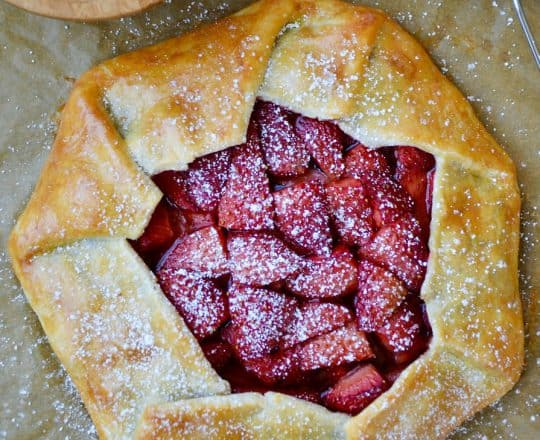 Simple Strawberry Galette with Whipped Cream