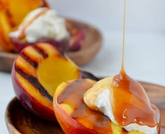 Grilled Peach Sundaes with Boozy Caramel Sauce