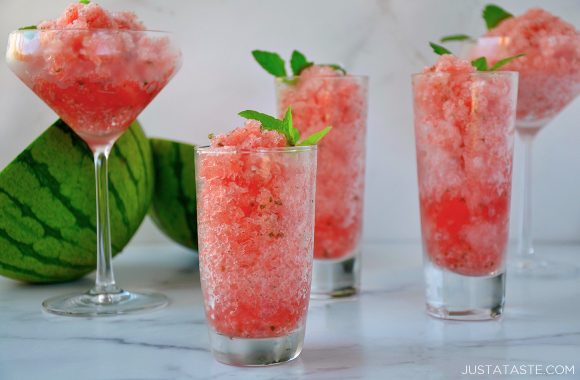 Boozy Watermelon Granita in different sized cocktail glasses
