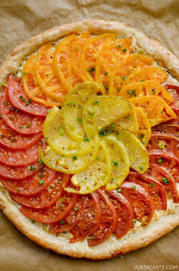 Top down view of easy Cheesy Tomato Tart with Caramelized Onions
