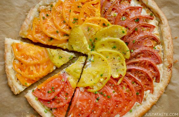 Best cheesy tomato tart with caramelized onions and fresh chives