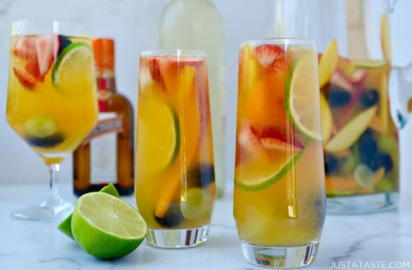 Various glasses filled with the best White Sangria for All Seasons