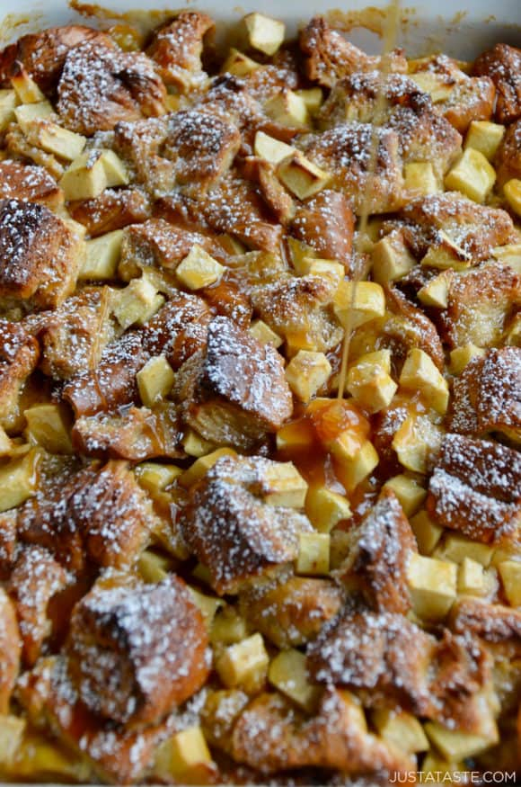 Closeup view of homemade caramel apple bread pudding