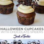 Top image: A close-up view of Halloween Cupcakes with vanilla buttercream, chocolate spiders and candy eyes. Bottom image: Halloween Cupcakes with vanilla buttercream, chocolate spiders and candy eyes.