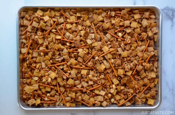 Baking sheet containing Baked Chex Mix