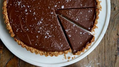 Chocolate-Peanut Butter Pretzel Tart topped with large-flake sea salt