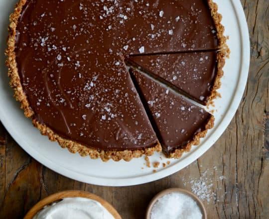 Chocolate-Peanut Butter Pretzel Tart topped with large-flake sea salt