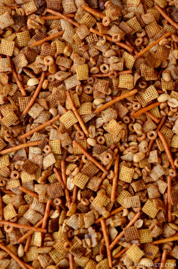 Closeup view of Homemade Chex Mix with pretzels and mixed nuts