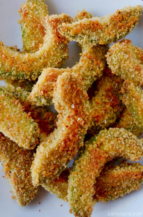 Closeup view of baked avocado fries