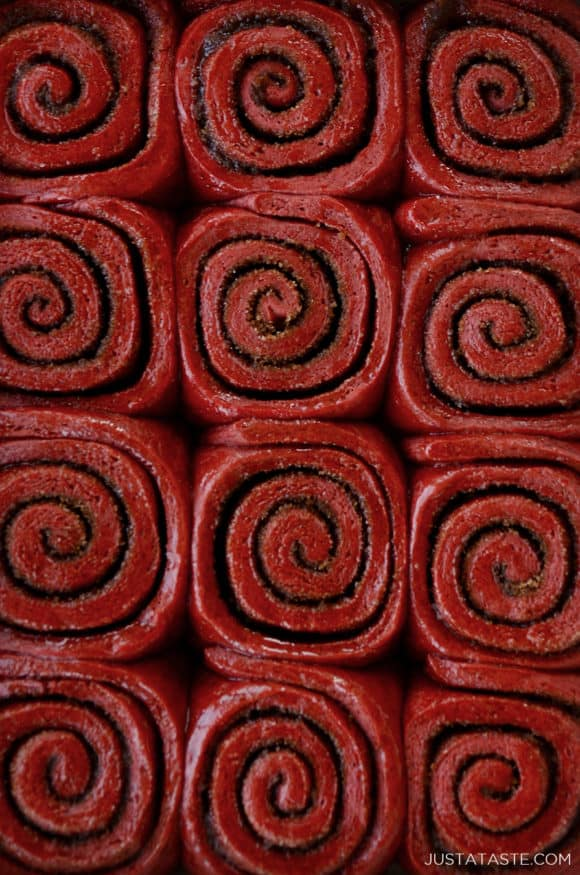 A close-up shot of red velvet cinnamon rolls
