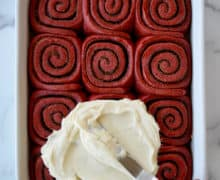 Red Velvet Cinnamon Rolls with Cream Cheese Frosting
