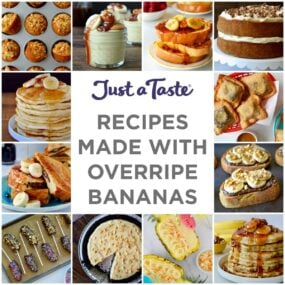 A collage of images for recipes to make with overripe bananas