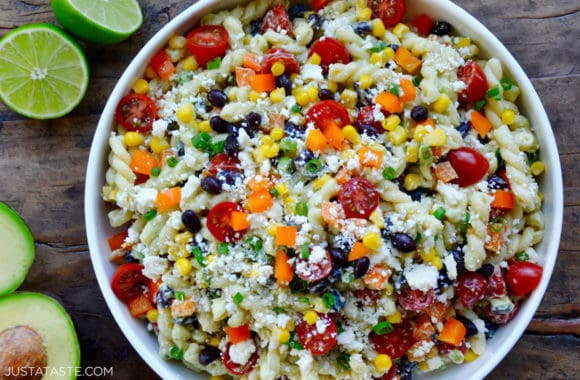Large bowl containing Southwestern Pasta Salad with Avocado Dressing