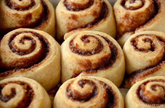 A close-up of no-yeast cinnamon rolls