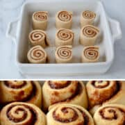 Vertical collage of images. Top image: A baking dish containing homemade cinnamon rolls, half of which are frosted. Second image: A white baking dish containing unbaked cinnamon rolls. Third image: Closeup view of freshly baked, unfrosted cinnamon rolls. Last image: Mixer over clear bowl containing cream cheese frosting.