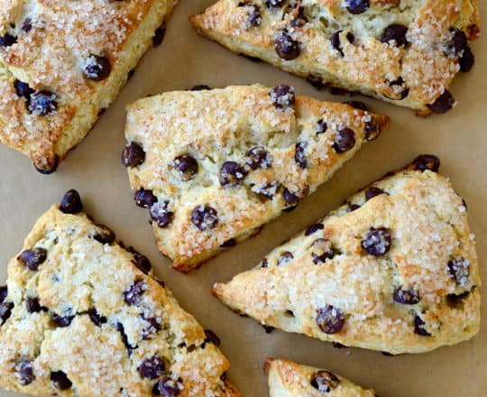 Top down view of easy Sour Cream Chocolate Chip Scones