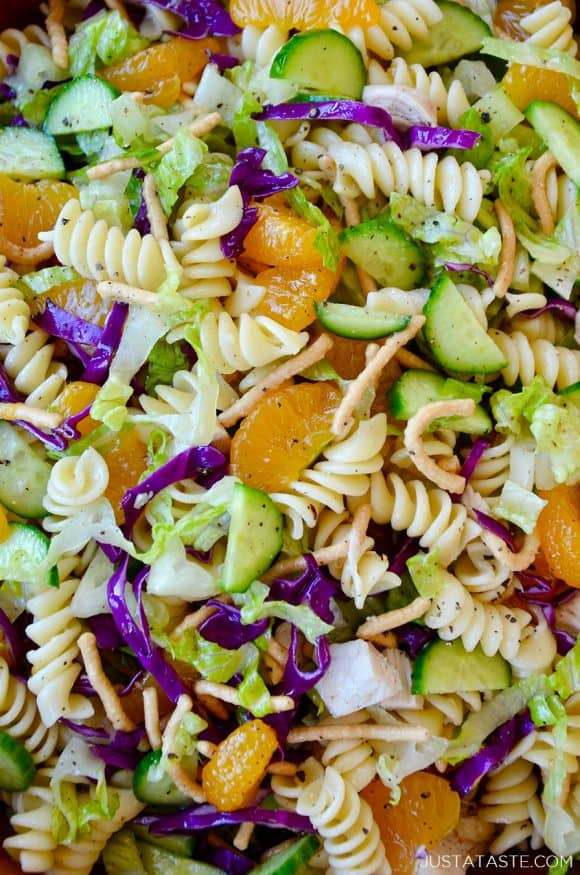 Closeup view of easy Chinese Chicken Pasta Salad with homemade sesame dressing