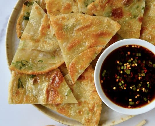 Easy Scallion Pancakes with Soy Dipping Sauce