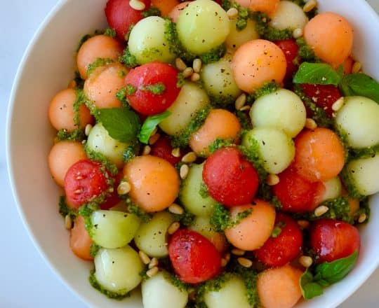 Melon Salad with Basil Vinaigrette